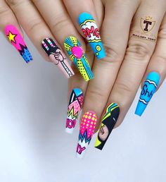 70 Alluring Acrylic Coffin Nails Design Ideas This Summer – – Coffin & Stiletto Nails Design Ballerina Acrylic Nails, Best Acrylic Nails, Pop Art Nails, Neon Nails, Gorgeous Nails, Pretty Nails, Coffin Nails Designs Summer, Nailart, Fire Nails