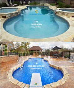 "Do you prefer ""The Caribbean"" or ""The Mediterranean?"" Leisure Pools' composite fiberglass swimming pools. Both offer beautiful styling with a large wraparound seat in the front. Both are 40 feet in length and 16 feet wide. The key difference is below the water with the Caribbean offering a shallow end of 4 feet descending to 6'4"". The Mediterranean goes deeper allowing 8 feet of depth for diving and water fun. So where do you want to spend your life of leisure?"
