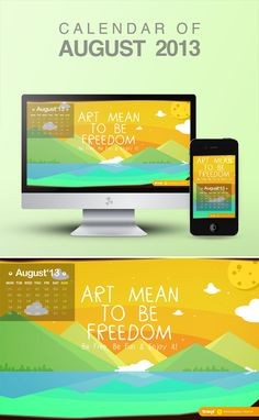 Be Fun because Art mean to be freedom, free wallpaper calendar of August 2013 from iBrandStudio