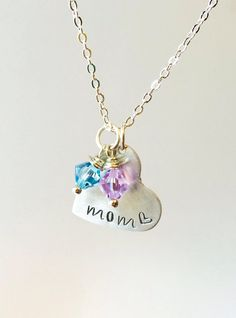 Mom Birthstone Necklace Mother's Day Necklace by UniquelyImprint