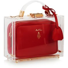 Mark Cross Grace Plexiglas and leather shoulder bag featuring polyvore, fashion, bags, handbags, shoulder bags, leather handbags, leather crossbody, red shoulder bag, crossbody shoulder bags and leather pouch