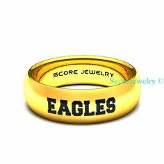 14K Yellow Gold Tungsten Band Ring Mens Womens Ring NFL Football Philadelphia Eagles Ring Birthday Anniversary Gift