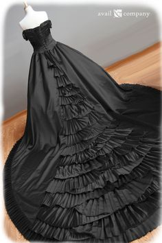 Terrestre Black Wedding Dress Gothic Wedding Dress Ball Gown by AvailCo, $1650.00