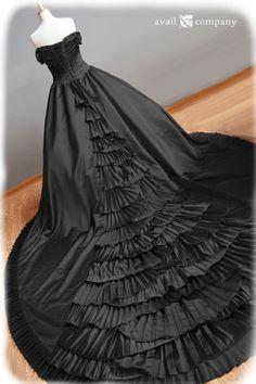 Black Wedding Dress Gothic Wedding Dress Ball Gown by AvailCo, $1650.00