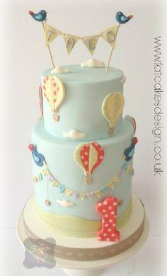 air ballons 1st birthday cake
