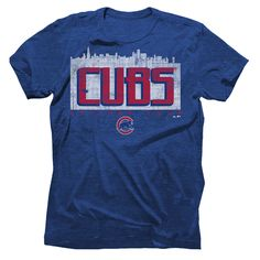Men's Chicago Cubs Majestic Threads Royal Skyline Tri-Blend T-Shirt