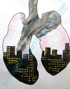 Air pollution painting with water colour by Pankaj karmakar Cute Cartoon Drawings, Small Drawings, Colorful Drawings, Easy Drawings, Air Pollution Poster, Water Pollution, Air Pollution Project, Drawing For Kids, Art For Kids