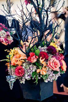 halloween Wedding theme idea  black with color  fuscia smokey rose pink pale orange lavendar green burgandy pale yellow   tree candle holder