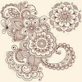 Hand-Drawn Intricate Abstract Flowers and Mandala Mehndi Henna Tattoo Paisley Doodle - Illustration stock photography
