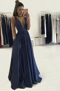Sexy Deep V-neck Evening Dress Long A Line Prom Dresses Graduation Party Dresses For Teens Navy Blue Formal Dress Royal Blue Prom Dresses, V Neck Prom Dresses, Cheap Prom Dresses, Dress Prom, Party Dress, Long Dresses, Prom Party, Wedding Dresses, Prom Gowns