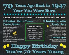 70th Birthday Poster 1947 Year Born 1947 Fun Facts Flashback Events 70th Gift for Women Mother Back in 1947 You get 4 sizes at 300 DPI at no extra cost (See SIZES below). HAPPY 70TH BIRTHDAY GIFT...This birthday sign with songs, movies, events and more from the year 1947 is an instant downloadable file that you can print on your own printer or at a copy shop. For more colors and designs, see the link below.  WATERMARKS: The watermarks you see in the sample image above will not appear on your…