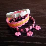 All those cute crochet thin bracelets you can make yourself! Crochet Bangle bracelets are always stylish and fashionable. Try different styles in your favorite colors - all you need is crochet tread, crochet hook and a plastic bottle!