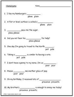 Homonyms - Homophone Worksheets 20 free chose the word sheets Spelling Worksheets, English Grammar Worksheets, 2nd Grade Worksheets, Kindergarten Math Worksheets, Kindergarten Reading, Homonyms Words, Homographs, Simple Subject, Multiple Meaning Words