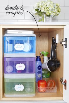 Colorful bins with fun labels keep deodorant sticks, razors, and Mom's expensive face cream from getting mixed up in the morning frenzy. And get smart about stick-on hooks: They corral your blow dryer's cord and free up a cabinet's base for more items.