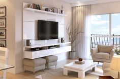 Manhattan Comfort City Floating Wall Theater Entertainment Center Maple Cream / Off White, TV Stands - Manhattan Comfort, Minimal & Modern - 1 Small Living, Home And Living, Tv Wall Decor, Floating Wall, Floating Tv Console, Floating Tv Stand, Floating Shelves, Floating Tv Unit, Living Room Tv