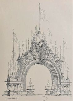 Architecture Concept Drawings, Classical Architecture, Architecture Details, Architecture Design, Monuments, Aesthetic Painting, Fantasy Landscape, Art Sketchbook, Sketches
