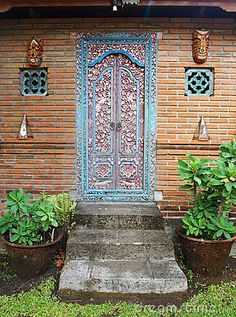 Balinese carved wood door by Joanne Zh Balinese Interior, Balinese Decor, Painted Doors, Wood Doors, Old Gates, Images Of Colours, Blue Rooms, Door Wall, Door Knockers