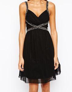Enlarge Little Mistress Lace Insert Embellished Prom Dress with Plunge Neck