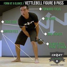 Form at a Glance: Kettlebell Figure 8 Pass #workout Kettlebell Abs, Kettlebell Challenge, Kettlebell Training, Kettlebell Swings, Fitness Goals, Fitness Tips, Fitness Motivation, Training Motivation, Crossfit