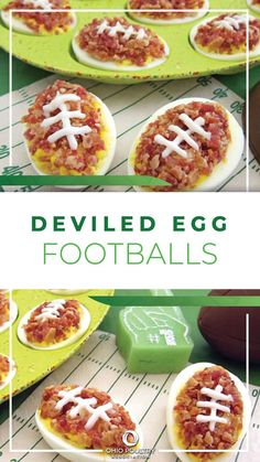Deviled Egg Footballs by Ohio food blogger Hungry Happenings make a fun game day snack! Everyone will cheer when you serve them bacon-topped deviled eggs.