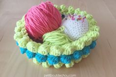 DIY Bobble stitch crochet cotton yarn basket