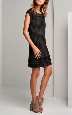 shift dress with check print 000007-black   1