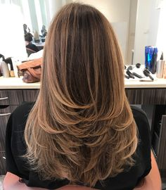 Swoopy Flipped Layers for Long Hair