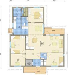 Deko 160 moderni talopaketti Bungalow, Future House, House Plans, Sweet Home, Floor Plans, Flooring, How To Plan, Building, House Ideas