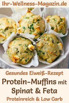Protein-Muffins mit Spinat und Feta - eiweißreiches Low-Carb-RezeptThanks ihrwellnessmaga for this post.Protein spinach muffins with feta: Fast, simple, low-carb recipe for hearty, healthy muffins with yoghurt, cream cheese and protein powder# Feta Protein Muffins, Low Calorie Muffins, Healthy Muffins, Protein Breakfast, Low Carb Recipes, Diet Recipes, Muffins Sains, Law Carb, Feta