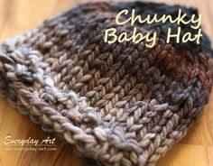 Easy knit hat patterns are perfect for baby. Keep your little angel's head warm with these free knitting patterns. Knitted baby hats are a quick project and they're extra cute, so make one today! Chunky Knitting Patterns, Baby Hats Knitting, Knitting For Kids, Loom Knitting, Free Knitting, Knitting Projects, Knitted Hats, Knit Patterns, Sewing Projects