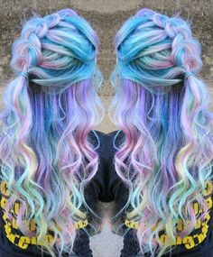 Pastel purple rainbow dyed hair More Purple Violet Red Cherry Pink Bright Hair Colour Color Coloured Colored Fire Style curls haircut lilac lavender short long mermaid blue green teal orange hippy boho Pulp Riot Rainbow Dyed Hair, Dyed Hair Pastel, Pastel Purple, Rainbow Pastel, Pink Blue, Blue Green, Bright Hair, Dye My Hair, Cool Hair Color