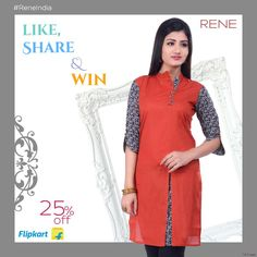 Buy this Rene Red Color Cotton Casual Women's Kurti from Flipkart. #womenswear #reneindia