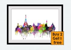 Paris watercolor print Paris colorful poster Paris skyline print Paris cityscape poster Home decoration Office decor Christmas gift For more skyline posters see here https://www.etsy.com/shop/ColorfulPrint/search?search_query=skyline&order=date_desc&view_type=list&ref=shop_search  This is a print of my original watercolor illustration made on watercolor textured paper with professional Epson Stylus printer.  SPECIAL offer for LIMITED TI...