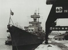 Hmmm, I give you another Kriegsmarine's, Representative.  SOTD..  KMS HEAVY CRUISER Blücher at Kiel, Germany in early 1940.