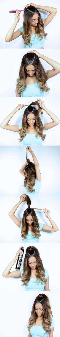 Amazing Half Up-Half Down Hairstyles For Long Hair – Ariana Grande Inspired Hair… - Hair Styles Down Hairstyles For Long Hair, Ponytail Hairstyles, Pretty Hairstyles, Girl Hairstyles, Waitress Hairstyles, Country Hairstyles, Wedding Hairstyles, Vintage Hairstyles, Half Pony Hairstyles