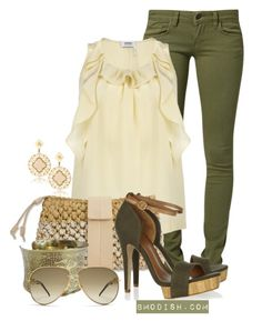 Casual With Olive Green Jeans Heels Outfits, Classy Outfits, Casual Outfits, Cute Outfits, Casual Clothes, Olive Green Pants Outfit, Olive Green Jeans, Olive Outfits, Green Outfits