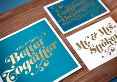 {teal and gold foil invitations photo by Sean Flanigan invitations by Lilia DeGregory via 100 Layer Cake}