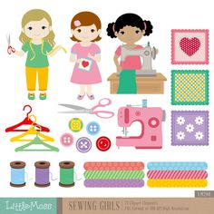 Sewing Clipart Digital Clipart by LittleMoss on Etsy
