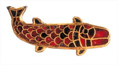 Medieval gild brooch shaped like a fish (salmon?). Gilt silver and garnets. Bülach (ZH). Early Middle Age.