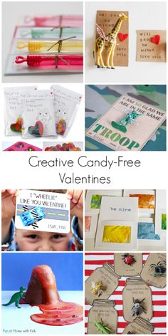15 Fun and Creative Candy-Free Valentines for Kids - most with free printables!  From Fun at Home with Kids