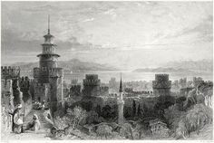 Fortress of the Seven Towers (Yedikule), looking over the Sea of Marmara.    Thomas Allom, from Constantinople, by Robert Walsh, London, 1839.