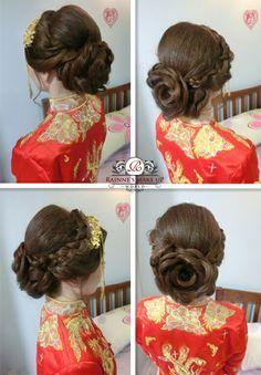 Bridal hairdo,chinese kua stylinh,rainne makeup world, rainne yap, wedding 2016,