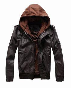 Black Leather Jacket with Hood.