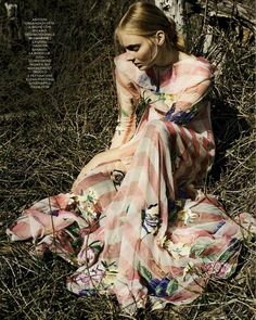 Impalpable Elegance – Blumarine Spring Summer 2016 • Striped silk organza dress with 3D effect multicolor floral embroidery. • GRAZIA, Italy – February 24, 2016