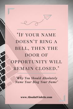When I say to name your blog after yourself, it doesn't necessarily have to be your government name. It can be your alias, nickname, a moniker you choose for yourself. And this is why... #Blogging #Branding