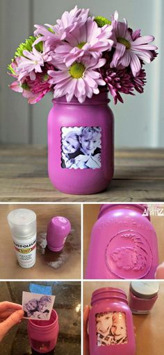 Mother's Day Gifts with Lots of Tutorials Mason Jar Picture Frame Vase.DIY Mother's Day Gifts with Lots of Tutorials Mason Jar Picture Frame Vase. Diy Gifts For Mom, Diy Mothers Day Gifts, Homemade Gifts, Grandma Gifts, Mother Gifts, Wine Bottle Crafts, Mason Jar Crafts, Mason Jar Diy, Kids Crafts