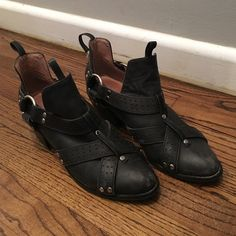 """Jeffrey Campbell for Free People Biker Booties Silver studs, 2"""" Heels, Pull on Style with slight wear (One of the pulls on the left shoe came loose - See pictures) Jeffrey Campbell Shoes Ankle Boots & Booties"""