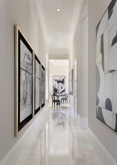 , Contemporary Hallway Design Ideas With Stainless Console Table Also Huge Modern Mirror With Black Frame Also White Tile Floor Also White Wall Paint Color Also Small Ceiling Lights Also White Modern Furniture: Hallway designs to Make Your House Better Contemporary Hallway, Modern Hallway, Modern Wall, Hall Wall Decor, Hallway Ideas Entrance Narrow, Narrow Hallways, Flur Design, Hallway Inspiration, Hallway Flooring