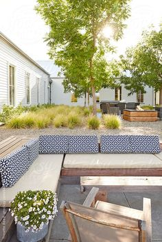 Outdoor courtyard patio at modern design farmhouse by Trinette Reed - Stocksy United Fire Pit Seating, Outdoor Seating, Outdoor Rooms, Outdoor Gardens, Outdoor Living, Outdoor Decor, Outdoor Sofa, Modern Fire Pit, Design Exterior