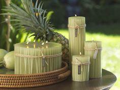 Bungalow Straw Inlay Pillar Candles / Green